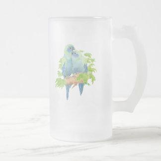 Le bleu Parrots le stein en verre tropical Frosted Glass Beer Mug
