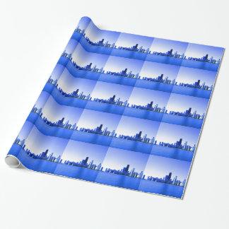 Le bleu royal accentue l'horizon de Chicago Papier Cadeau Noël