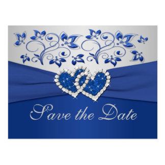 Le bleu royal et l'argent sauvent la carte de date