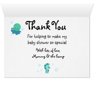 Le bleu sous le baby shower de mer vous remercient cartes