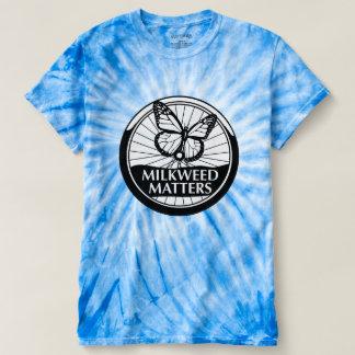 Le bleu teignent en nouant avec le logo de BW T-shirt
