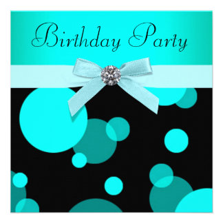Le bleu turquoise bouillonne n importe quelle fête carton d'invitation