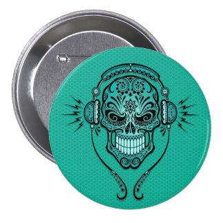 Le bleu turquoise DJ sucrent le crâne Badge