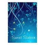 Le bleu turquoise tourbillonne partie de sweet invitations personnalisées