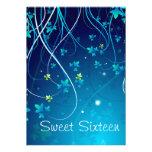 Le bleu turquoise tourbillonne partie de sweet six invitations personnalisées