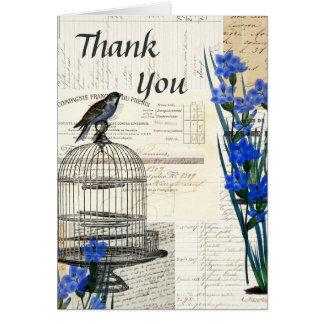 Le bleu vintage de cage à oiseaux fleurit le Merci Carte De Vœux