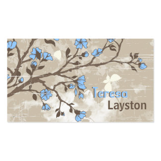 Le bleu vintage fleurit le taupe grunge floral modèle de carte de visite