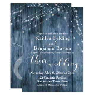Le bois bleu rustique, la lumière blanche ficelle carton d'invitation  12,7 cm x 17,78 cm