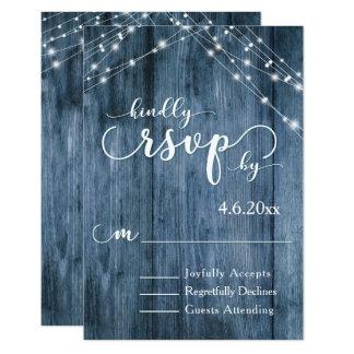 Le bois bleu rustique, la lumière blanche ficelle carton d'invitation 8,89 cm x 12,70 cm