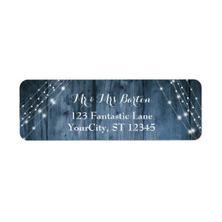 Le bois bleu rustique, la lumière blanche ficelle étiquette d'adresse retour