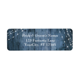 Le bois bleu rustique, la lumière blanche ficelle étiquettes d'adresse retour