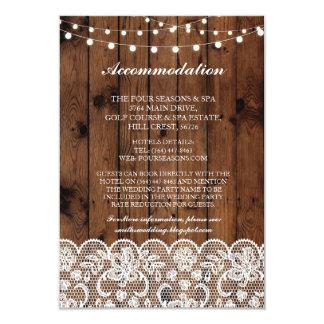 Le bois de logement de dentelle allume des cartes carton d'invitation 8,89 cm x 12,70 cm