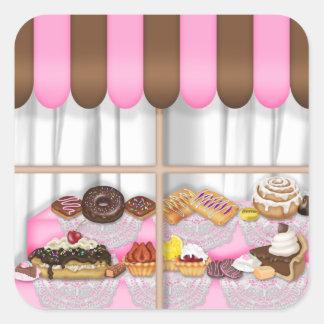 Le bonbon à boulangerie d'amusement traite sticker carré
