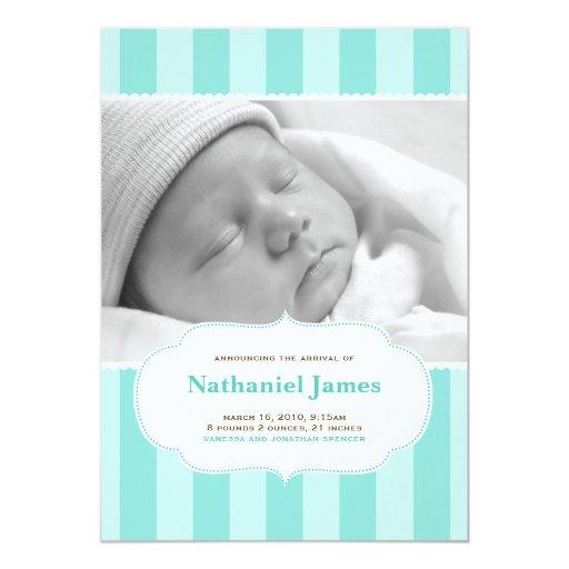 Le bonbon barre le faire-part de naissance dans le carton d'invitation  12,7 cm x 17,78 cm