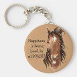 Le bonheur est aimé par un CHEVAL ! Humour Porte-clé