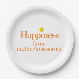 Le bonheur est la cocotte en terre de ma mère assiette en papier 22,8 cm