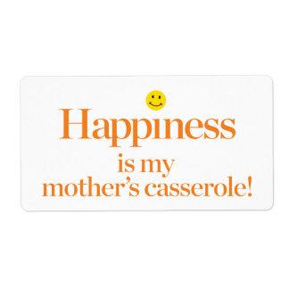 Le bonheur est la cocotte en terre de ma mère étiquettes d'expédition