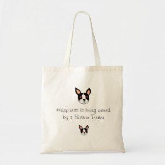 Le bonheur est possédé par Boston Terrier Fourre-t Sacs En Toile