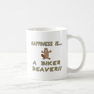 Le bonheur est un castor de cycliste mug blanc