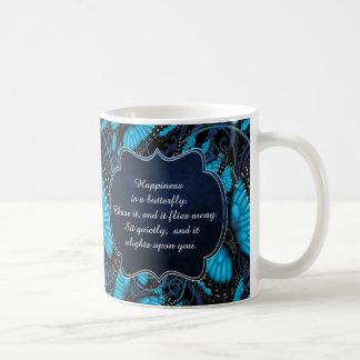 Le bonheur est un papillon : Papillon bleu de Mug