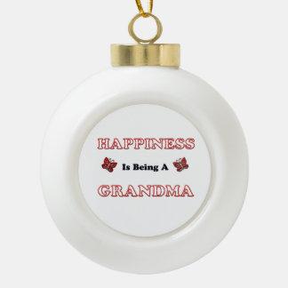Le bonheur est une grand-maman boule en céramique