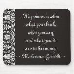 Le bonheur Gandhi cite Mousepad Tapis De Souris