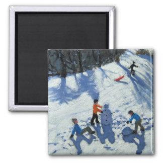 Le bonhomme de neige 2 magnet carré