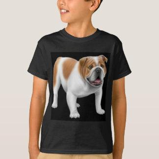 Le bouledogue anglais badine le T-shirt foncé