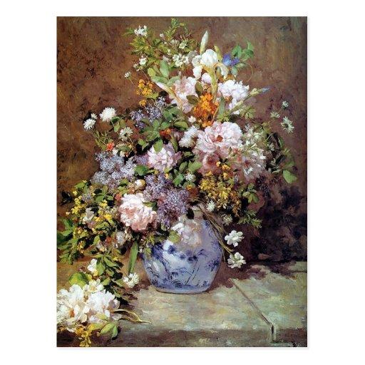 Le bouquet de Renoir du ressort fleurit la carte p Carte Postale
