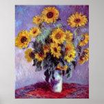 Le bouquet des tournesols, Monet, cru fleurit Posters