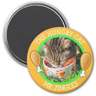 Le bouton humoristique AFFAMÉ de photo de CAT Magnet Rond 7,50 Cm