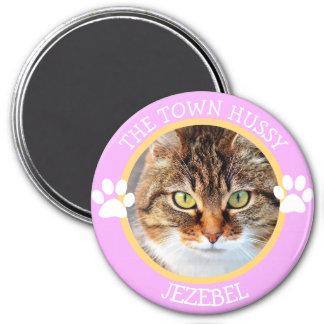 Le bouton humoristique de photo de CAT Pawprints Magnet Rond 7,50 Cm