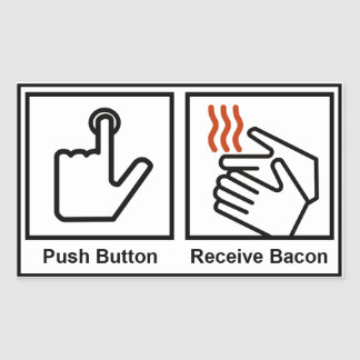 Le bouton poussoir reçoivent le lard autocollants