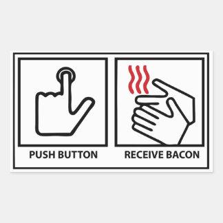 le bouton poussoir reçoivent le lard sticker rectangulaire
