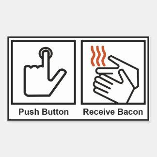 Le bouton poussoir, reçoivent le lard sticker rectangulaire