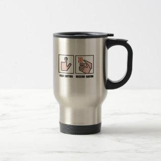 Le bouton poussoir reçoivent le lard mug de voyage en acier inoxydable