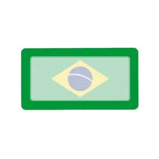 Le Brésil - drapeau national brésilien Étiquette D'adresse
