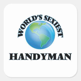 Le bricoleur le plus sexy du monde stickers carrés