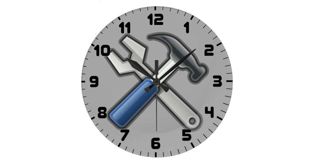 le bricoleur usine l 39 horloge murale de marteau et grande horloge ronde zazzle. Black Bedroom Furniture Sets. Home Design Ideas