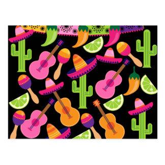 Le cactus de sombrero de partie de fiesta chaule carte postale