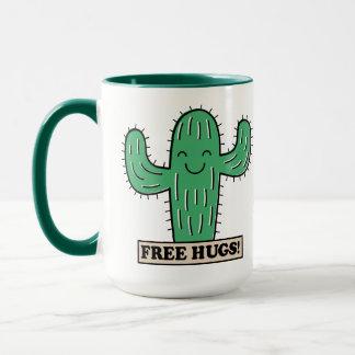Le cactus libre étreint les tasses nommées faites