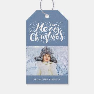 Le cadeau de photo de Noël très Joyeux étiquette