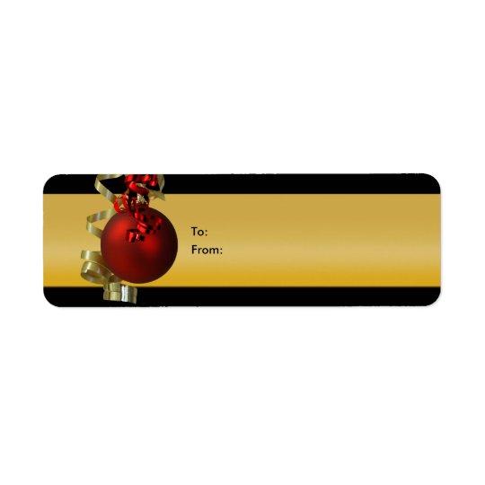 Le cadeau d'ornement de Noël étiquette l'or de rou