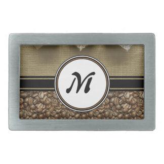 Le cadeau du monogramme délicieux de café boucles de ceinture rectangulaires