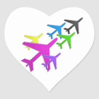 Le cadeaux d AVION versent le d avion de flotte d Autocollant En Cœur