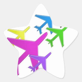 Le cadeaux d'AVION versent le d'avion de flotte Sticker En Étoile