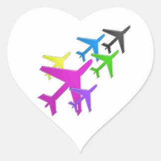 Le cadeaux d'AVION versent le d'avion de flotte Autocollant En Cœur