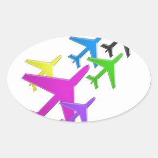 Le cadeaux d'AVION versent le d'avion de flotte d' Sticker Ovale