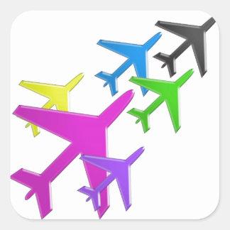 Le cadeaux d'AVION versent le d'avion de flotte d' Sticker Carré