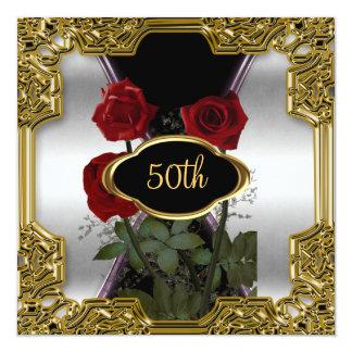 Le cadre argenté d'or fleurit l'invitation 2